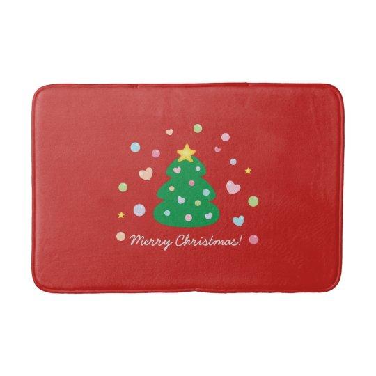 Colourful Cute Festive Merry Christmas Tree Bath Mat