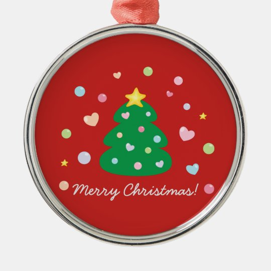 Colourful Cute Festive Merry Christmas Tree Christmas Ornament