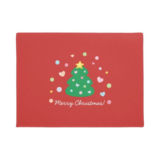Colourful Cute Festive Merry Christmas Tree Doormat