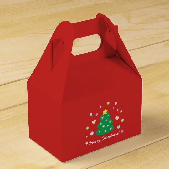 Colourful Cute Festive Merry Christmas Tree Favour Box