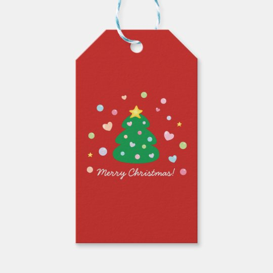 Colourful Cute Festive Merry Christmas Tree Gift Tags