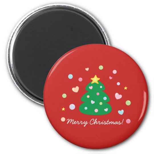 Colourful Cute Festive Merry Christmas Tree Magnet