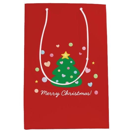 Colourful Cute Festive Merry Christmas Tree Medium Gift Bag