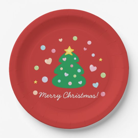 Colourful Cute Festive Merry Christmas Tree Paper Plate