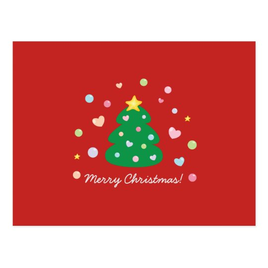 Colourful Cute Festive Merry Christmas Tree Postcard