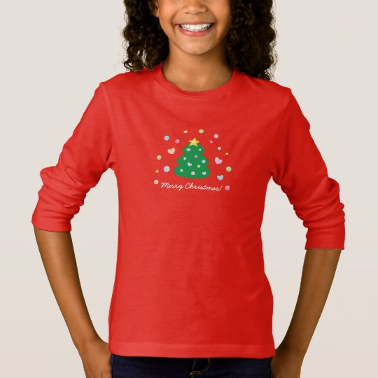 Colourful Cute Festive Merry Christmas Tree T-Shirt