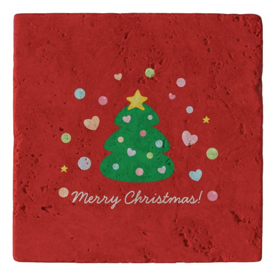 Colourful Cute Festive Merry Christmas Tree Trivet