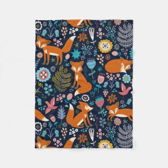 Colourful Cute Flowers & Foxes Pattern Fleece Blanket