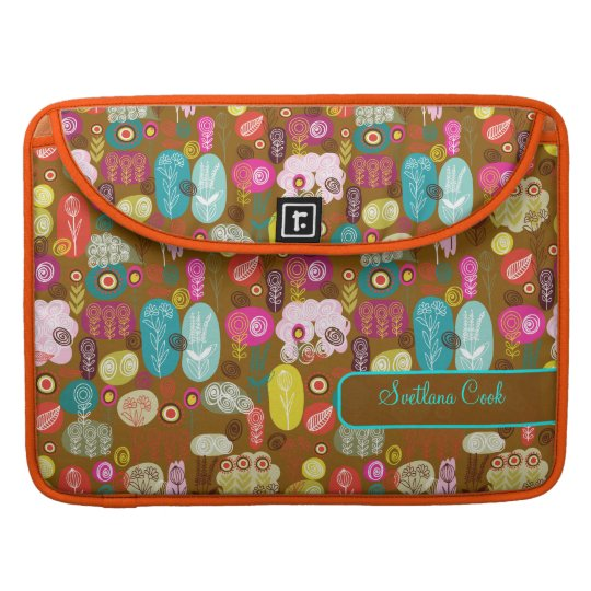 Colourful Cute Hand Drawn Retro Flowers-Monogram Sleeve For MacBook Pro