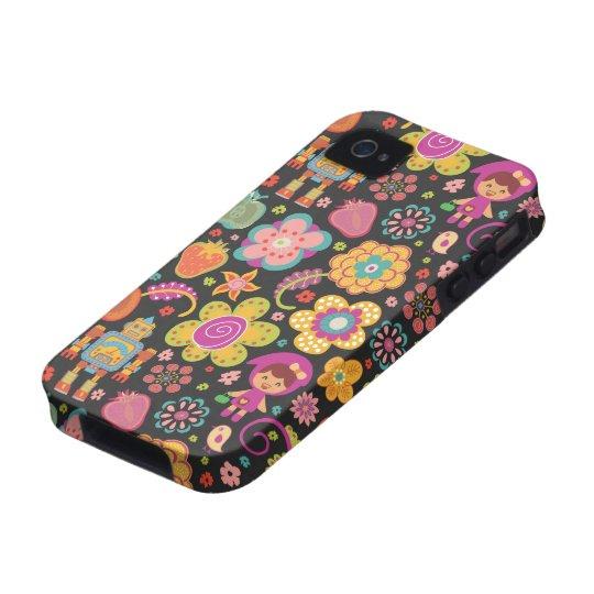 Colourful Cute Hand Drawn Retro Pattern Dark iPhone 4 Cases