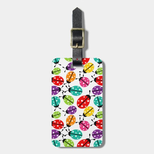Colourful Cute Lady Bug Seamless Pattern Luggage Tag