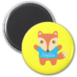 Colourful cute little fox, for Kids 6 Cm Round Magnet
