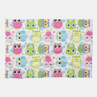 Colourful cute little owls pattern tea towel