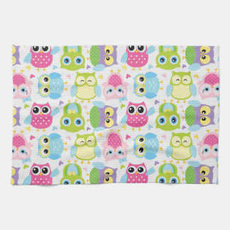 Colourful cute little owls pattern towels