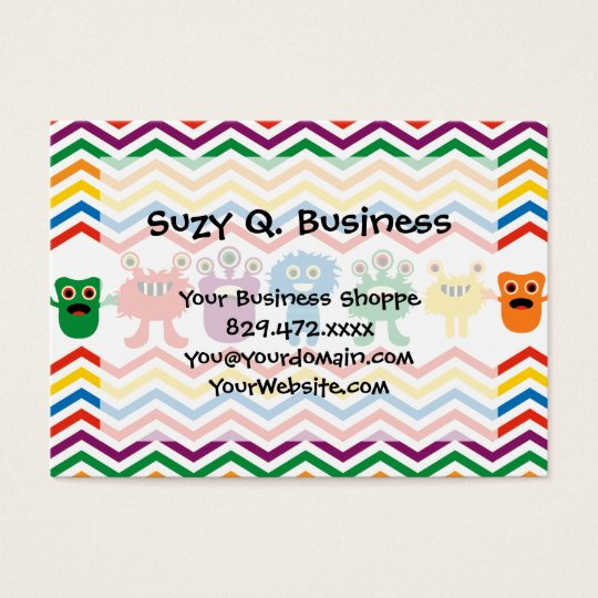 Colourful Cute Monsters Fun Chevron Striped Business Card