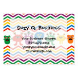 Colourful Cute Monsters Fun Chevron Striped Pack Of Chubby Business Cards
