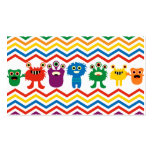 Colourful Cute Monsters Fun Chevron Striped Pack Of Standard Business Cards