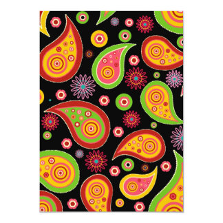 colourful cute paisley pattern fun background 13 cm x 18 cm invitation card