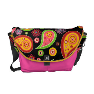 colourful cute paisley pattern fun background courier bag