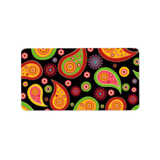 colourful cute paisley pattern fun background label