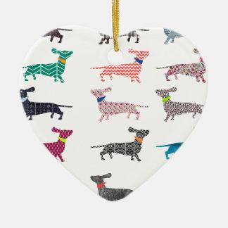 Colourful Dachshund! Ceramic Heart Decoration