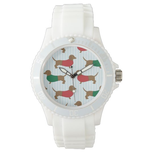 Colourful Dachshund Dogs Design Sporty White Watch
