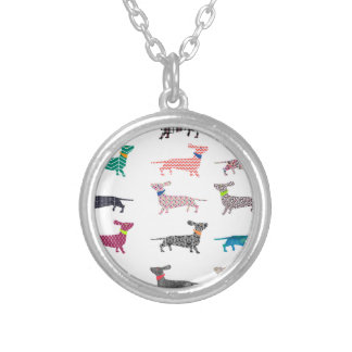 Colourful Dachshund! Silver Plated Necklace