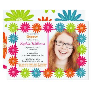 Colourful Daisies - 3x5 Birthday Invitation