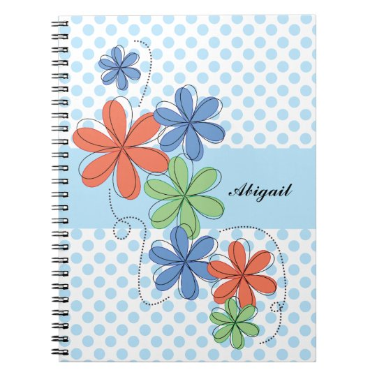 Colourful daisies, blue polka dots, personalised notebook