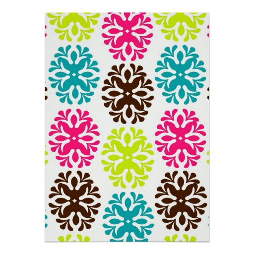Colourful damask floral cute neon flower pattern poster