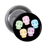 Colourful Day of the Dead Skulls Button