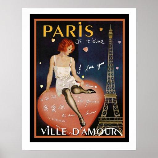 Colourful Deco Paris Travel Poster 16 x 20