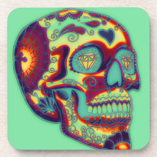 Colourful Decorated Skull On Green Coaster