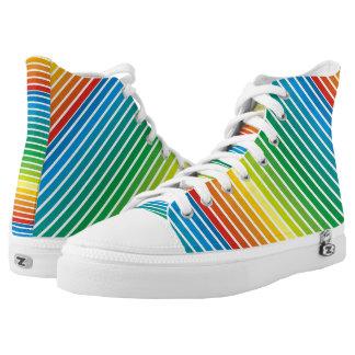 Colourful diagonal stripes modern printed shoes