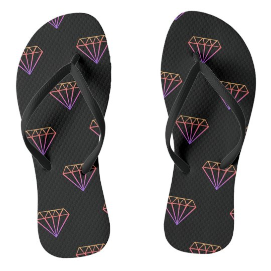 Colourful Diamond Pattern Flip Flops