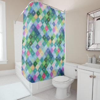 Colourful Diamond squares pattern Shower Curtain