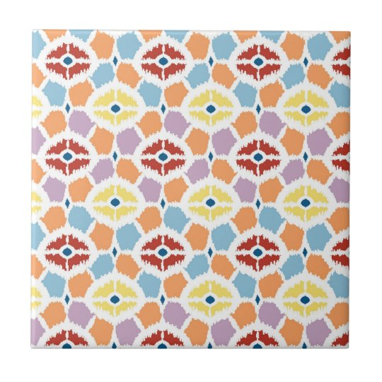 Colourful diamonds ikat geometric small square tile