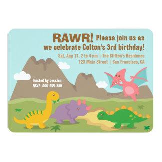 Colourful Dinosaur Kids Birthday Party Card