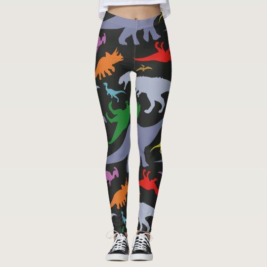 a1d4df089a73a Colourful Dinosaur Pattern (Dark) Leggings | Zazzle.co.uk