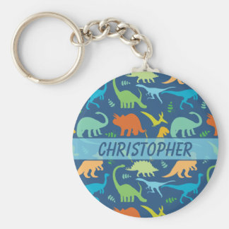 Colourful Dinosaur Pattern to Personalise Basic Round Button Key Ring