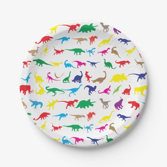 Colourful dinosaurs paper plate