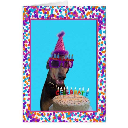 Colourful Doberman Birthday Celebration Cake Card
