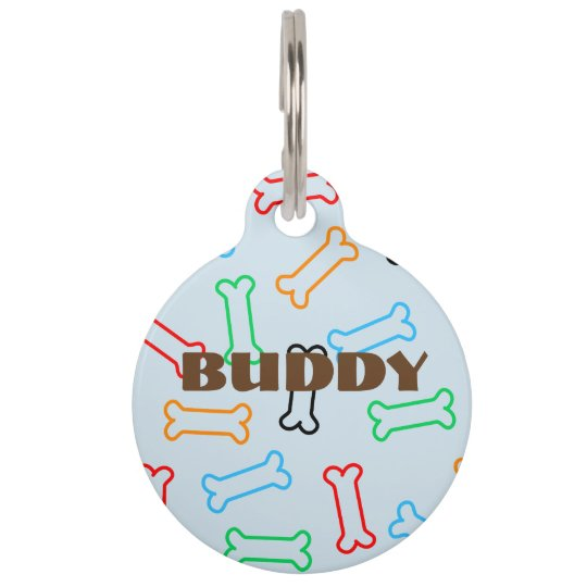 Colourful Dog Biscuit Bones Pet Tag