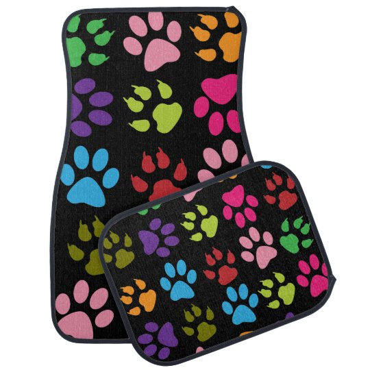 Colourful Dog Paw Prints Car Mat