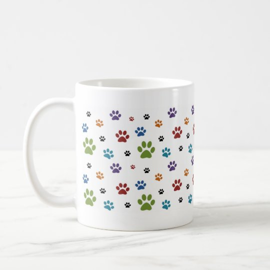 Colourful Dog Paw Prints Mug