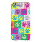 Colourful Dog Paws Patchwork Pattern Barely There iPhone 6 Case