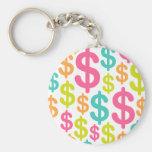 Colourful dollar sign pattern keychain