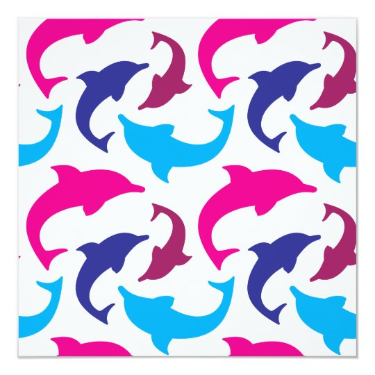 Colourful Dolphins Pattern Hot Pink Teal Blue Card