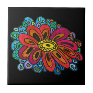 Colourful doodle Ceramic Tile