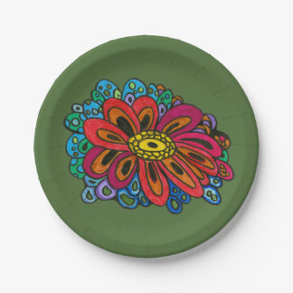 Colourful doodle paper plate